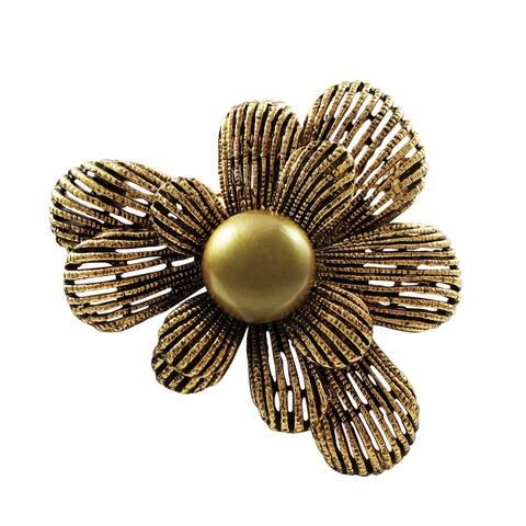 Luxiro Antique Dark Gold Finish Flower Brooch