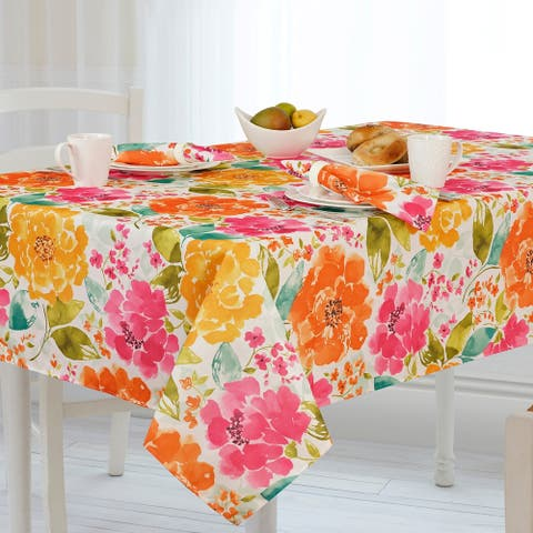 Evelyn Floral Stain Resistant Indoor Outdoor Tablecloth