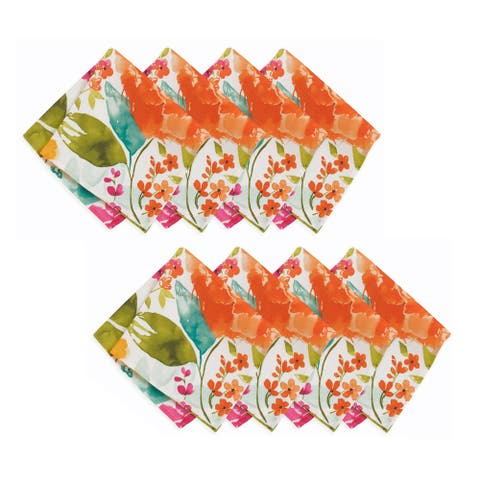 "Evelyn Floral Stain Resistant Indoor Outdoor Napkin Set of 8 - 17""x17"""