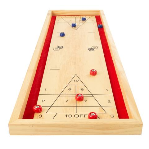 Tabletop Shuffleboard Game - Portable Compact Desktop Pinewood Competition Board Game for Kids and Adults by Hey! Play!