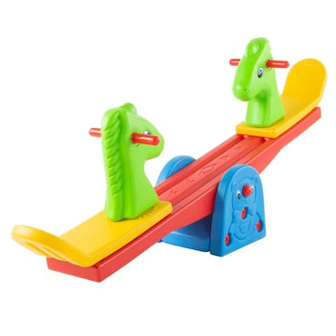 Seesaw ? Teeter Totter Backyard or Playroom Equipment with Easy-Grip Handles for Toddlers and Children- Rocker Toy by Hey! Play!