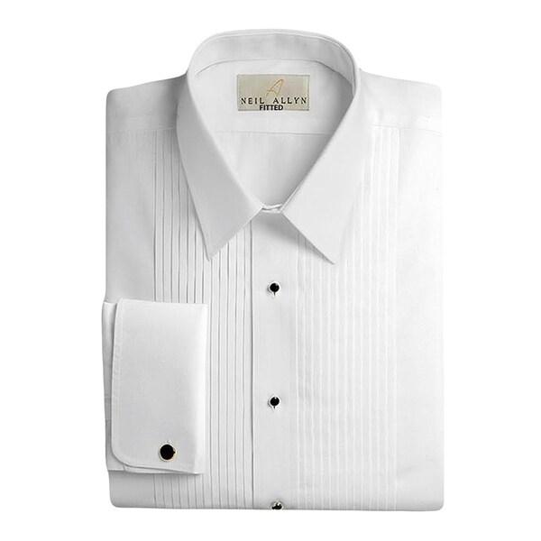 Neil Allyn Mens 100% Cotton Laydown Collar Tuxedo Shirt Slim Fit