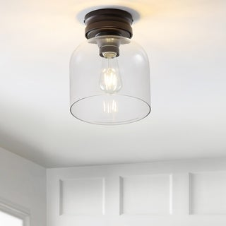 """Link to Domenic 7.75"""" Metal/Glass LED Flush Mount, Oil Rubbed Bronze by JONATHAN  Y Similar Items in Semi-Flush Mount Lights"""