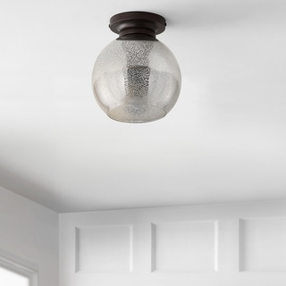 """Link to Atlas 7.75"""" Metal/Glass LED Flush Mount, Mercury Silver/Oil Rubbed Bronze by JONATHAN  Y Similar Items in Flush Mount Lights"""
