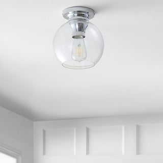 """Link to Atlas 7.75"""" Metal/Bubbled Glass LED Flush Mount, Chrome by JONATHAN  Y - Silver Similar Items in Flush Mount Lights"""