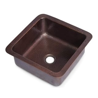 Monarch Abode Pure Copper Hand Hammered Glasgow Dual Mount Bar Prep Sink (12 inches)