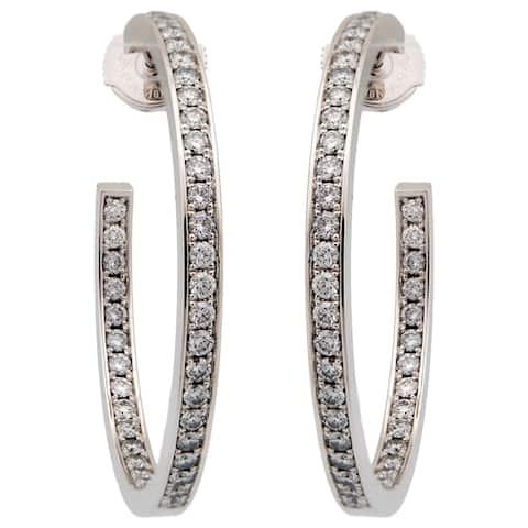 Cartier 18K White Gold Diamond Hoop Earrings