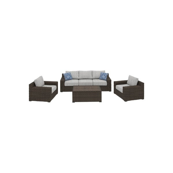 Alta Grande 4-Piece Outdoor Conversation Set with Sofa & Cocktail Table - Brown