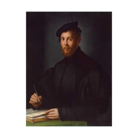 Agnolo Bronzino 'Portrait of a young man with a book ' Canvas Art