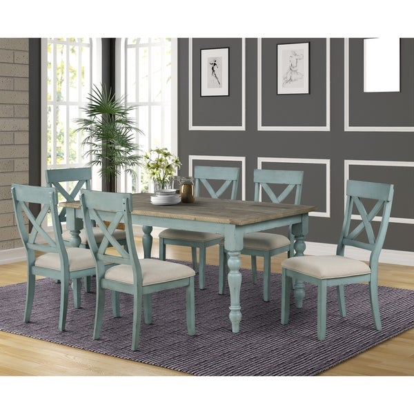 The Gray Barn Spring Mount 7-piece Dining Table Set with Cross Back Chairs. Opens flyout.