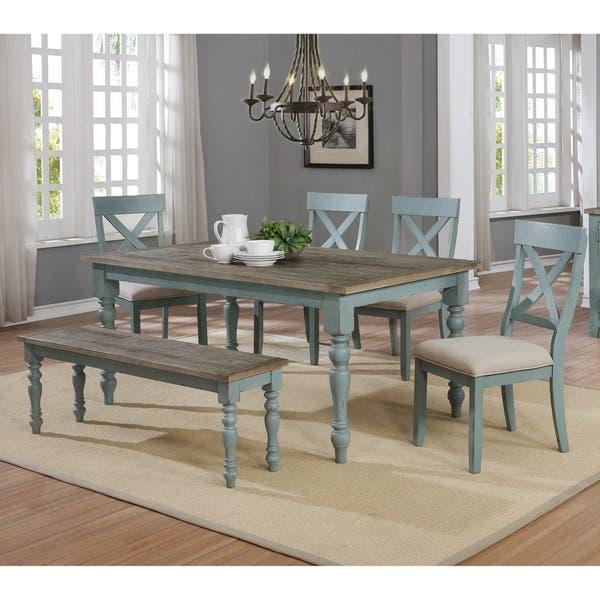 Prato Weathered Blue 5 Piece Dining Set On Sale Overstock 27192171