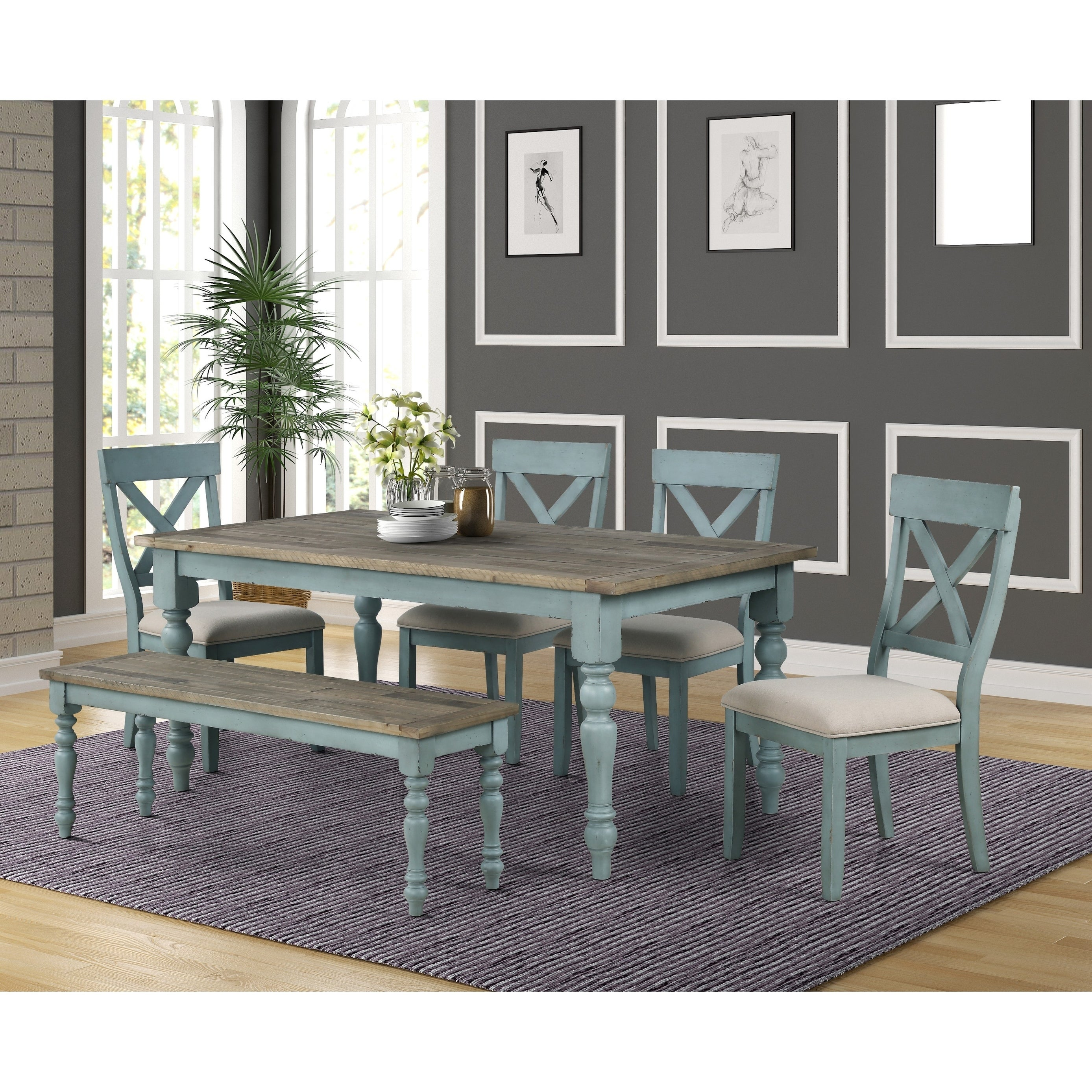 Dining Table Set With Cross Back Chairs