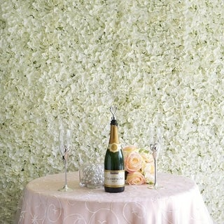 Enova Home 33 Sq ft. | 12 Panels Cream Hydrangea Flower Wall Panel For Wedding Party Event