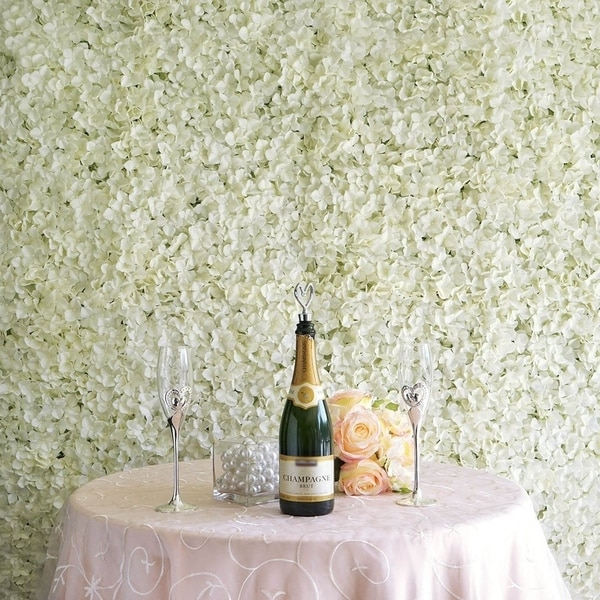 Enova Home 33 Sq ft.   12 Panels Cream Hydrangea Flower Wall Panel For Wedding Party Event