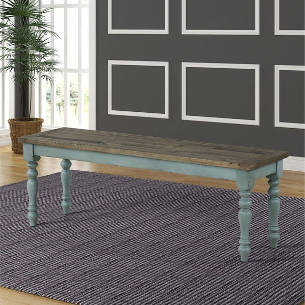 Prato Two-Tone Wood Upholstered Dining Bench - N/A. Opens flyout.