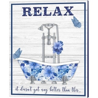 Jean Plout 'Blue Floral Bath Art A' Canvas Art