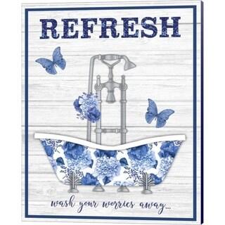 Jean Plout 'Blue Floral Bath Art B' Canvas Art