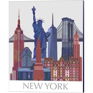 Fab Funky 'New York Landmarks , Red Blue' Canvas Art