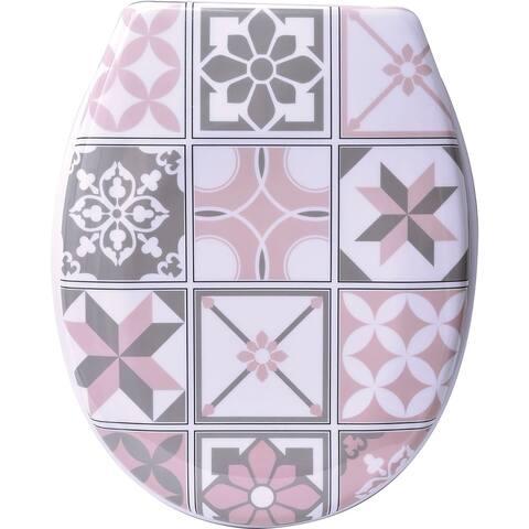 Bastide Printed Duroplast Oval Toilet Seat 17L x 14.6 W - Pink - 17L X 14.64W x 2 H