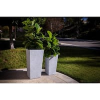 Xbrand Modern Nested Grey Square Flower Pot Planter, Set of 2 Different Sizes, 29 Inch & 24 Inch Tall