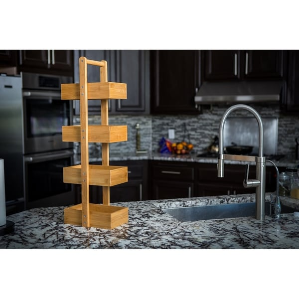 Zora 4 Tiered Multi Purpose Freestanding Bamboo Storage Shelf 30 Inch Tall