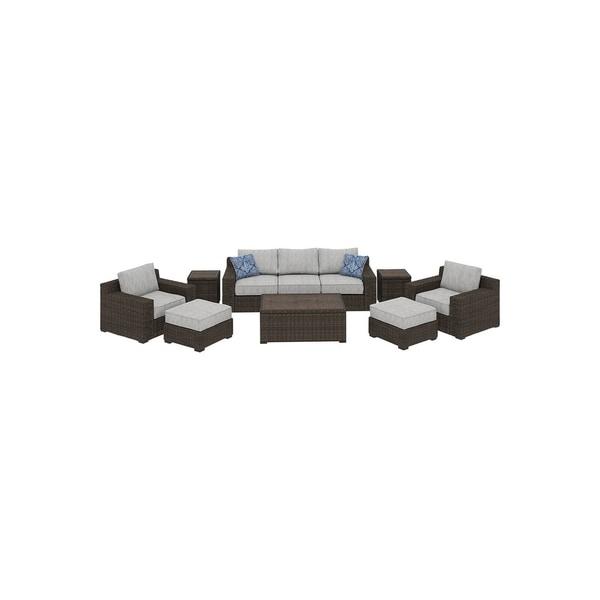 Alta Grande Brown 8-piece Outdoor Conversation Set with Sofa