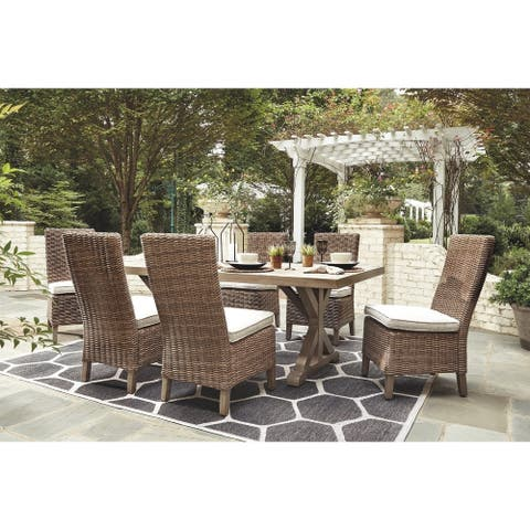 Beachcroft 7-Piece Outdoor Dining Set - 6 Dining Chairs & Dining Table - Beige