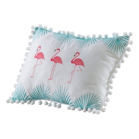 Porch & Den Evan Flamingo Pattern 12-inch x 16-inch Decorative Throw Pillow