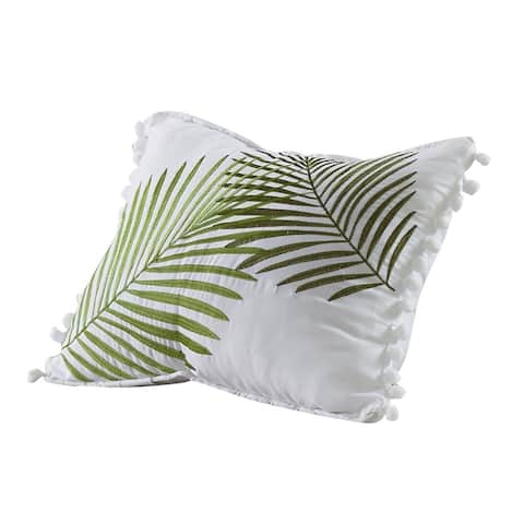 Porch & Den Erskine Embroidered Palm 12-inch x 16-inch Decorative Throw Pillow