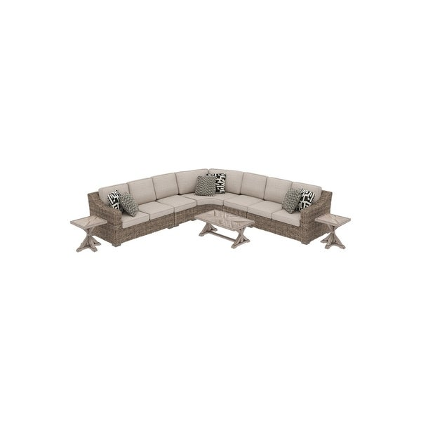 Shop Beachcroft 8-Piece Outdoor Sectional Set - Beige ... on Beachcroft Beige Outdoor Living Room Set id=27417