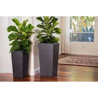 Xbrand Modern Nested Black Flower Pot Planter, Set of 2 Different Sizes, 29 Inch & 24 Inch Tall