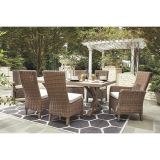 Beachcroft 7-piece Beige Outdoor Dining Set with 2 Armchairs