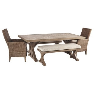 Beachcroft 5-Piece Outdoor Dining Set - 2 Benches, 2 Chairs & Table - Beige