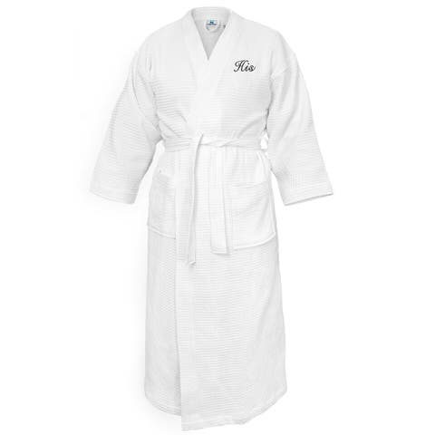 Kaufman -Terry Cloth Bathrobes 100% Cotton-His Embroidered Waffle Kimono