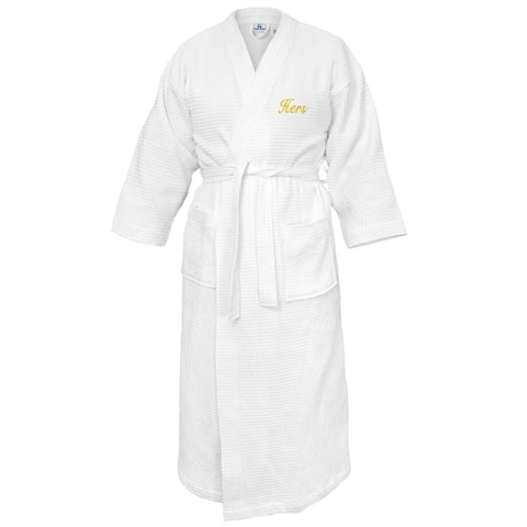 Kaufman - Terry Cloth Bathrobes 100% Cotton-HERS Embroidered Waffle Kimono