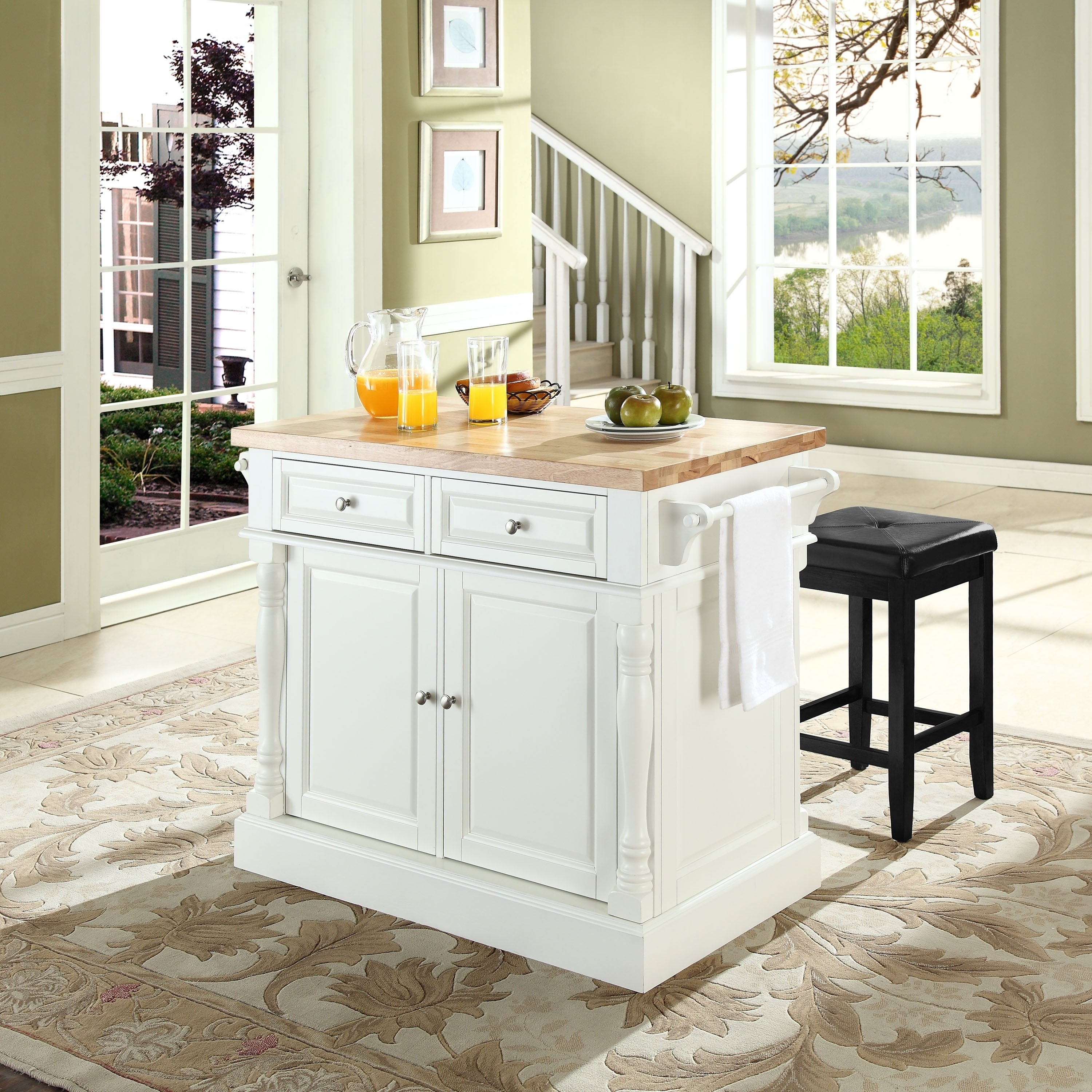 Oxford Butcher Block Top Kitchen Island In White Finish With Stools