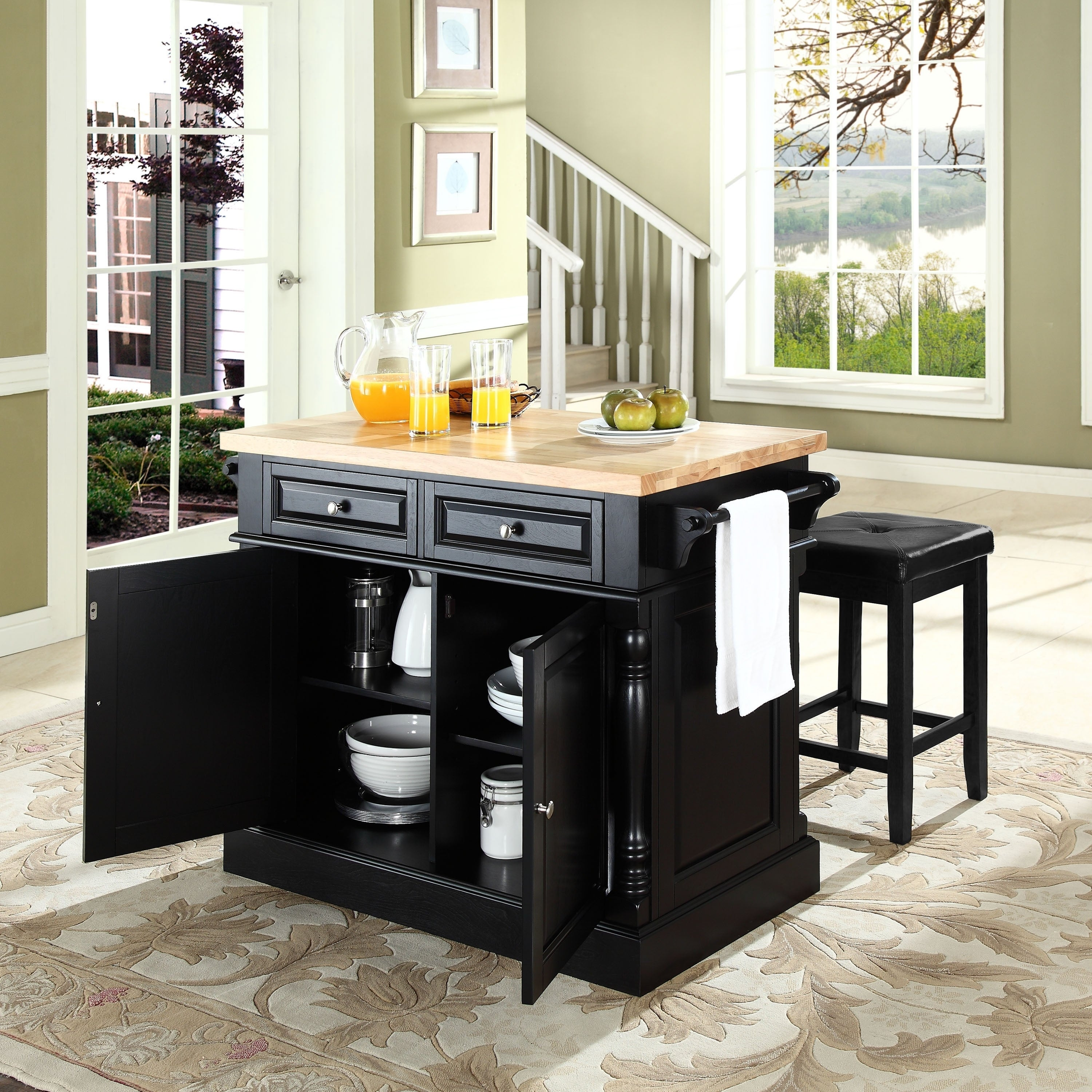Oxford Butcher Block Top Kitchen Island In Black Finish With Stools 47 75 W X 23 D X 35 75 H Overstock 27193000