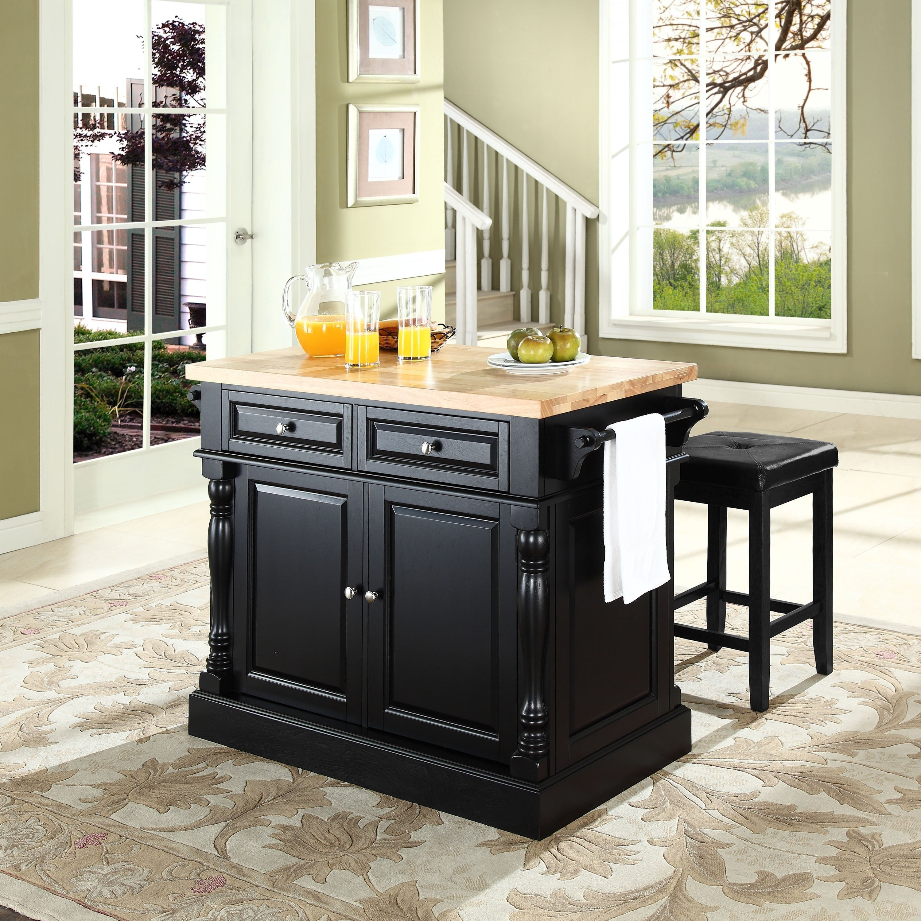 Oxford Butcher Block Top Kitchen Island in Black Finish with Stools
