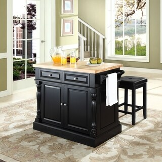 Oxford Butcher Block Top Kitchen Island in Black with Stools