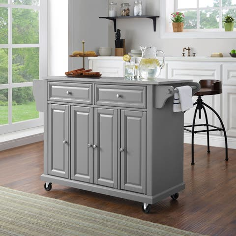 Stainless Steel Top Kitchen Cart/Island In Vintage Grey