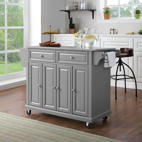 Stainless Steel Top Kitchen Cart/Island In Vintage Grey