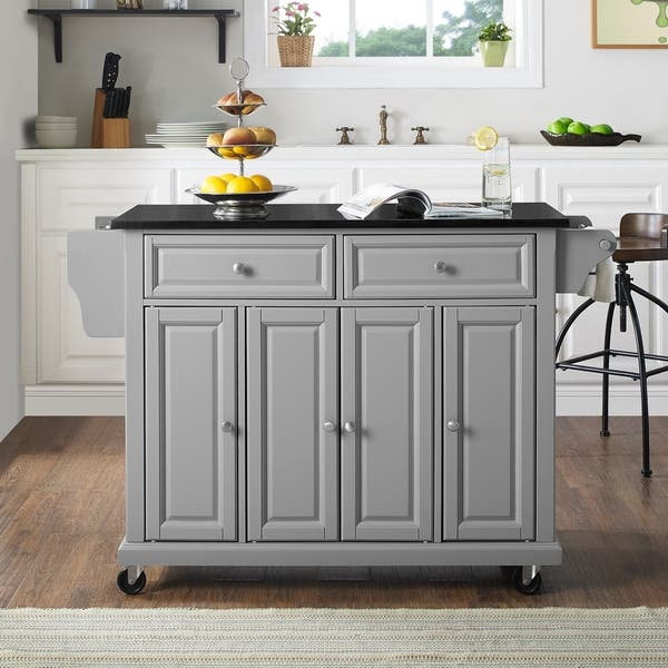 Shop Solid Black Granite Top Kitchen Island - Free Shipping ...