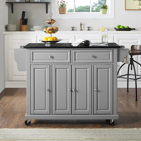 Shop Solid Black Granite Top Kitchen Island - On Sale - Free ...