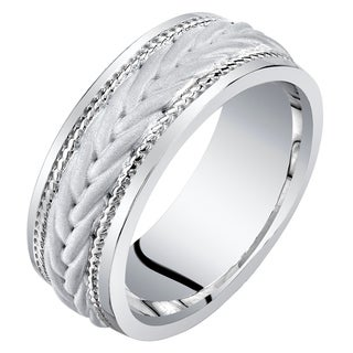 Men S Sterling Silver Roped Pattern Wedding Ring Band Comfort Fit Sizes 8 To 14