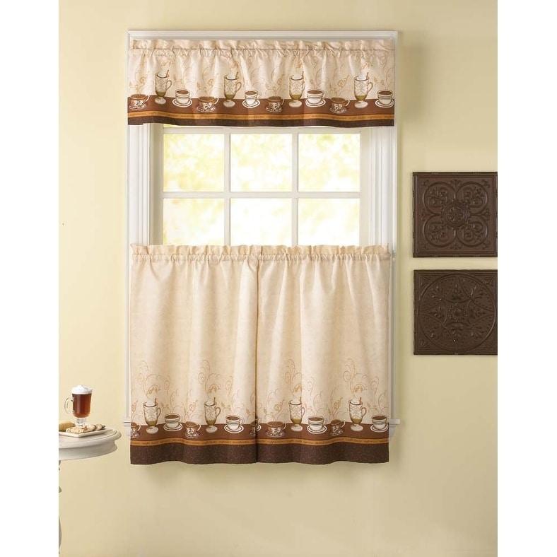 Cafe Au Lait Kitchen Curtain Tier Set