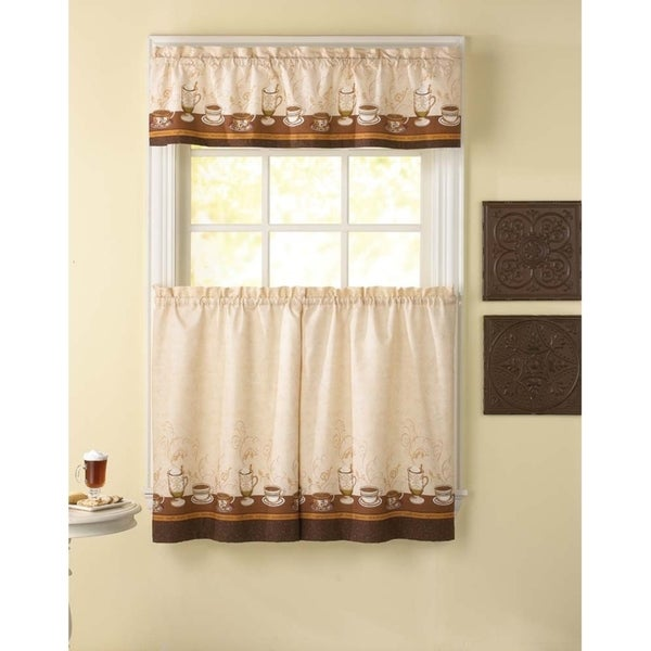 Cafe Au Lait Kitchen Curtain Tier Set - 36 in. - 3 Pc Set