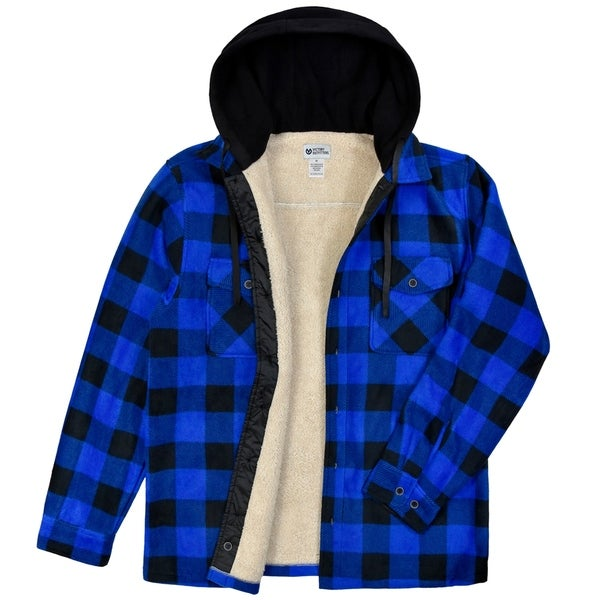 Mens Printed Fleece Button-up Jacket With Hood by  Purchase