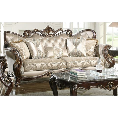 Constantine Brown Tufted Back Sofa with Curved Arms