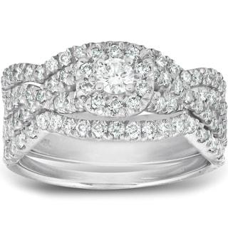 Pompeii3 10k White Gold 1 1 4ct TDW Diamond Halo Engagement 3 Piece Infinity Set