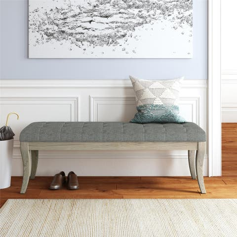 The Gray Barn Nettle Bank Rectangular Taupe Tufted Bench